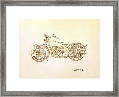 1928 Harley Davidson Motorcycle Graphite Pencil - Sepia Framed Print by Scott D Van Osdol