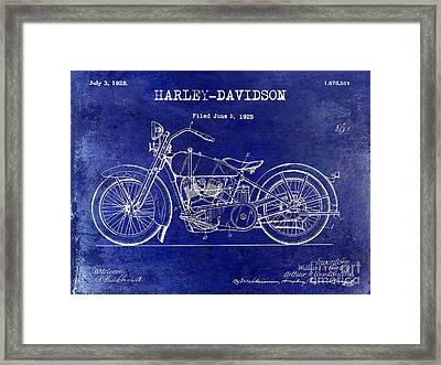 1928 Harley Davidson Patent Drawing Blue Framed Print by Jon Neidert