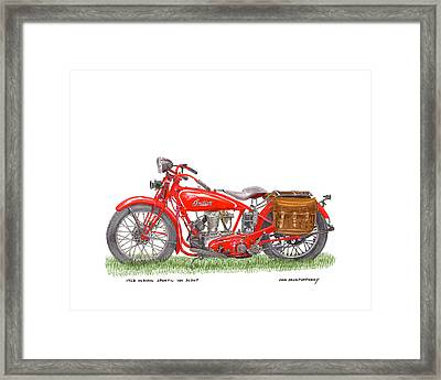 1928 Indian Sport 101 Scout Framed Print by Jack Pumphrey