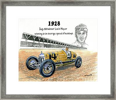 1928 Indy 500 Winner Louis Meyer Framed Print by Jeff Blazejovsky