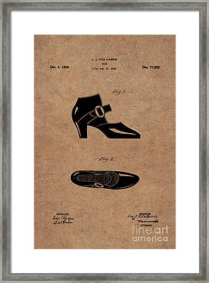 1928 Mary Jane Shoes Patent 1 Framed Print by Nishanth Gopinathan