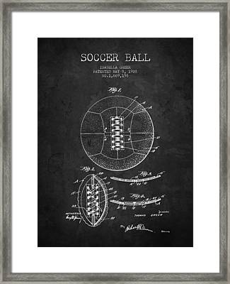 1928 Soccer Ball Patent - Charcoal - Nb Framed Print by Aged Pixel
