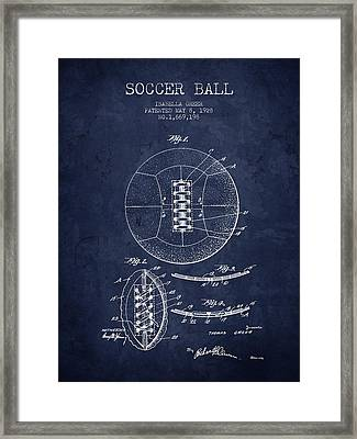 1928 Soccer Ball Patent - Navy Blue - Nb Framed Print by Aged Pixel