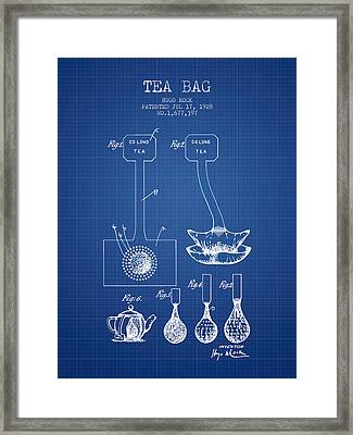 1928 Tea Bag Patent 02 - Blueprint Framed Print
