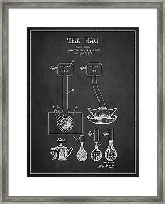 1928 Tea Bag Patent 02 - Charcoal Framed Print by Aged Pixel