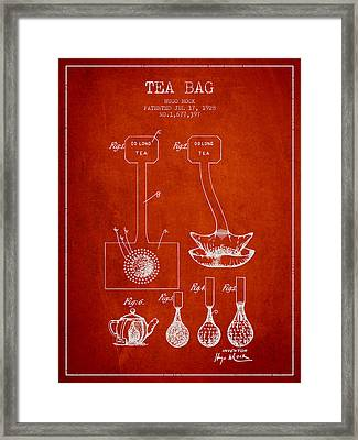 1928 Tea Bag Patent 02 - Red Framed Print by Aged Pixel