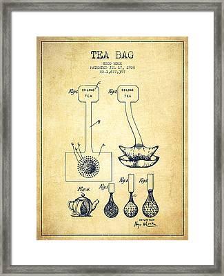 1928 Tea Bag Patent 02 - Vintage Framed Print by Aged Pixel