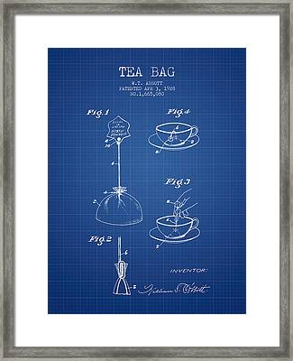 1928 Tea Bag Patent - Blueprint Framed Print by Aged Pixel