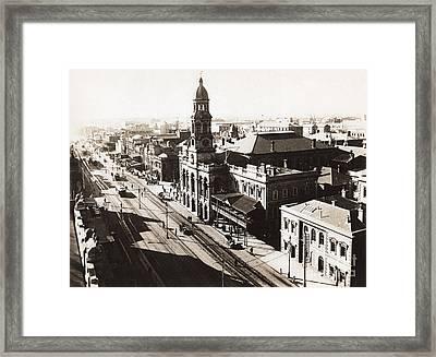 1928 Vintage Adelaide City Landscape Framed Print