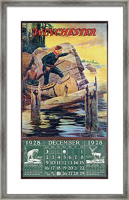 1928 Winchester Repeating Arms And Ammunition Calendar Framed Print