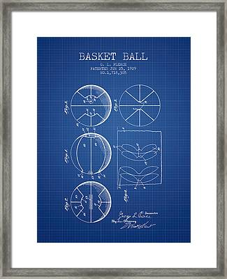 1929 Basket Ball Patent - Blueprint Framed Print by Aged Pixel