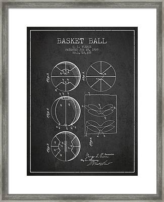 1929 Basket Ball Patent - Charcoal Framed Print by Aged Pixel