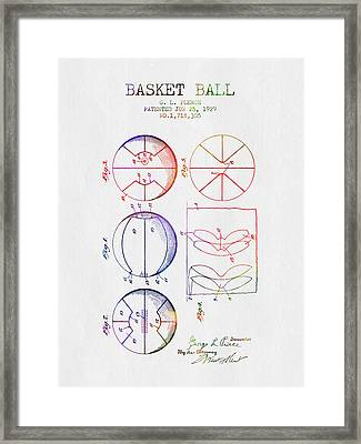 1929 Basket Ball Patent - Color Framed Print by Aged Pixel
