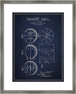 1929 Basket Ball Patent - Navy Blue Framed Print by Aged Pixel