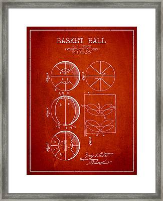1929 Basket Ball Patent - Red Framed Print