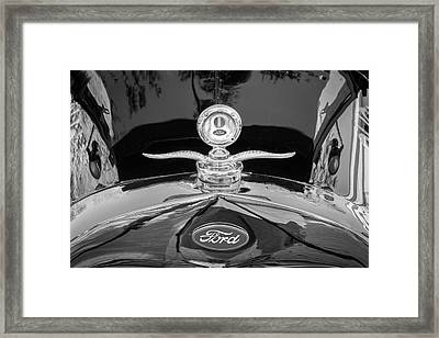 Framed Print featuring the photograph 1929 Ford Model A Hood Ornament Bw by Rich Franco