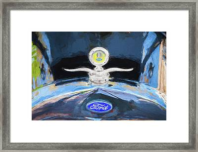 Framed Print featuring the photograph 1929 Ford Model A Hood Ornament Painted by Rich Franco