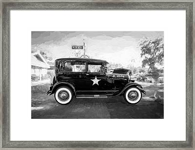1929 Ford Model A Tudor Police Sedan Bw Framed Print by Rich Franco