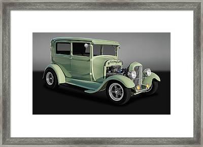 1929 Ford Model A Tudor Sedan  -  29fdsedgry9769 Framed Print