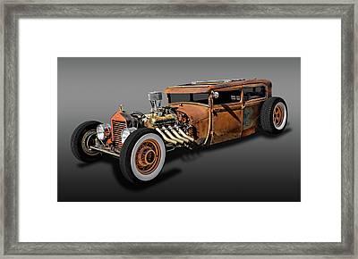 1929 Ford Model A Tudor Sedan Rat Rod  -  29fordratrodfa9483 Framed Print