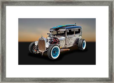 1929 Ford Tudor Sedan Rat Rod   -   29fdrr77 Framed Print