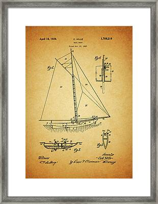 1929 Sailboat Patent Framed Print by Dan Sproul