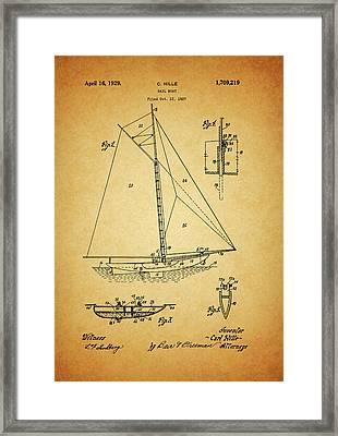 1929 Sailboat Patent Framed Print
