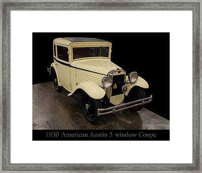 Framed Print featuring the digital art 1930 American Austin 5 Window Coupe by Chris Flees