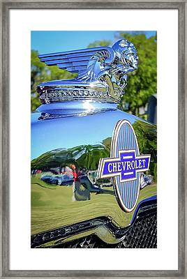 1930 Chevrolet Ad Hood Ornament Framed Print