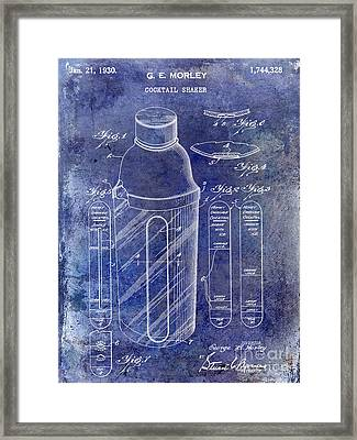 1930 Cocktail Shaker Patent Blue Framed Print by Jon Neidert