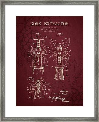 1930 Cork Extractor Patent - Red Wine Framed Print by Aged Pixel