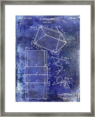 1930 Crab Trap Patent Blue Framed Print