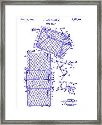 1930 Crab Trap Patent Blueprint Framed Print
