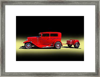 1930 Red Ford Sedan With Trailer Framed Print by Nick Gray