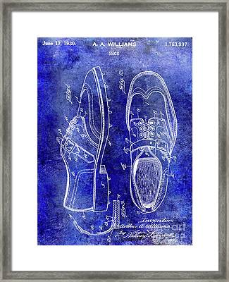 1930 Golf Shoe Patent Blue Framed Print by Jon Neidert