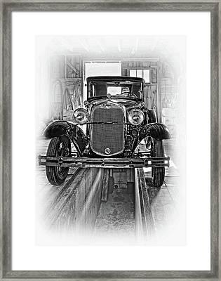 1930 Model T Ford - Vignette Bw Framed Print