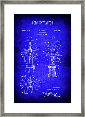 1930 Wine Cork Extractor Patent Blueprint Framed Print