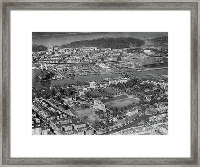 Framed Print featuring the photograph 1930's Northern Manhattan Aerial  by Cole Thompson