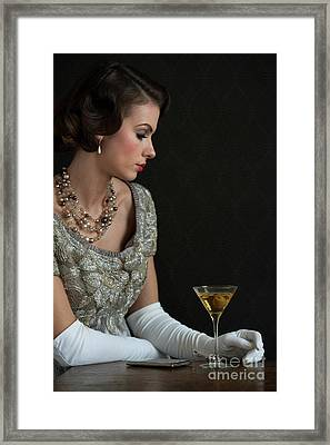 1930s Woman With A Cocktail Glass Framed Print