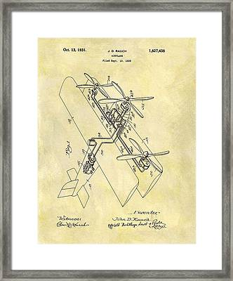 1931 Airplane Patent Framed Print by Dan Sproul