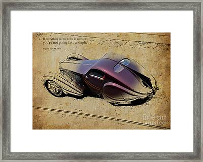 1931 Bugatti Type 51 Quote Framed Print by Pablo Franchi