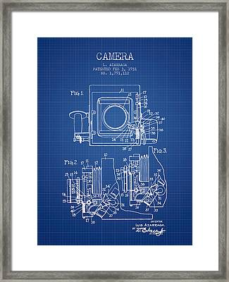 1931 Camera Patent - Blueprint Framed Print by Aged Pixel