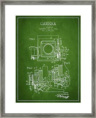 1931 Camera Patent - Green Framed Print by Aged Pixel