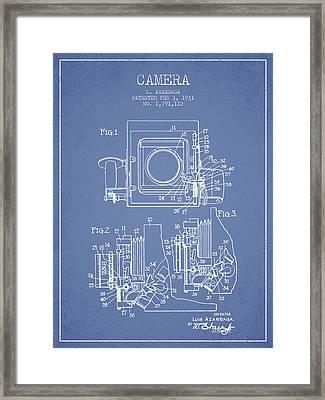 1931 Camera Patent - Light Blue Framed Print by Aged Pixel