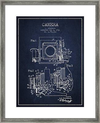 1931 Camera Patent - Navy Blue Framed Print by Aged Pixel