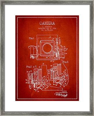 1931 Camera Patent - Red Framed Print