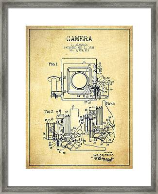 1931 Camera Patent - Vintage Framed Print by Aged Pixel
