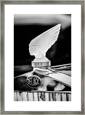 1931 Delage D8 Sports Tourer Lalique Hood Ornament -1433bw Framed Print
