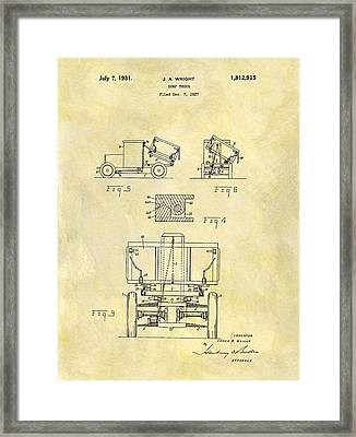 1931 Dump Truck Patent Framed Print by Dan Sproul