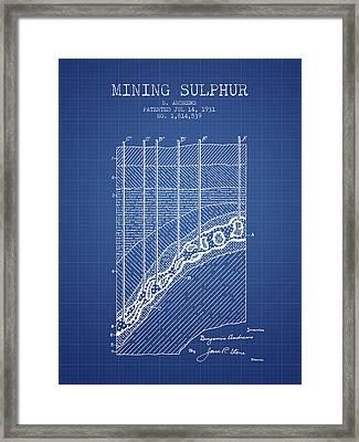 1931 Mining Sulphur Patent En38_bp Framed Print